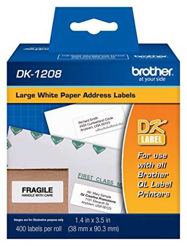 "Brother 1-1/2"" x 3-1/2"" Address Paper Labels (400-Pack) White BROTHER DK1208"