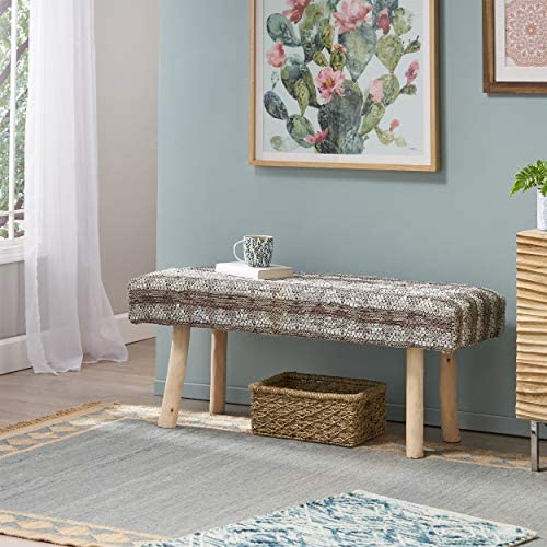GDF Studio Stephanie Handcrafted Boho Leather and Cotton Rectangular Bench