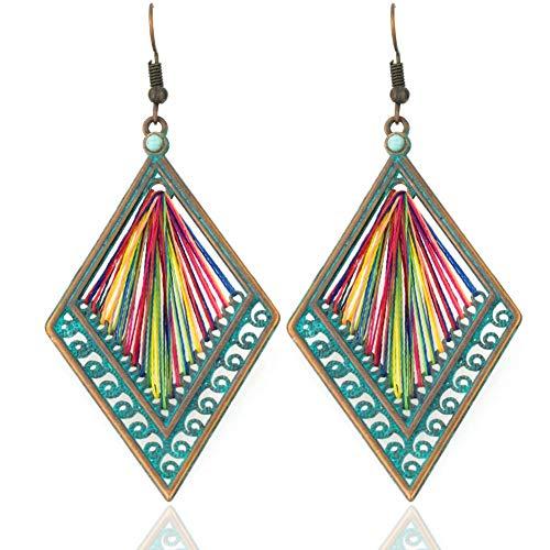 Soul Statement Rainbow Thread Geometric Dangle Earrings: Bronze & Teal Threader Bohemian Multi Color Jewelry for Women (Rainbow Thread)