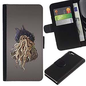 EuroCase - Apple Iphone 6 4.7 - Pirate Octopus Monster - Cuero PU Delgado caso cubierta Shell Armor Funda Case Cover