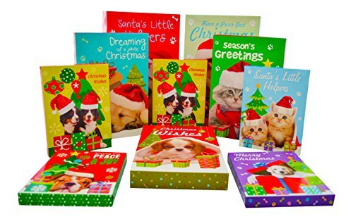 Puppy Christmas Gift Tags - Christmas Gift Box Assortment of Dogs and Cats Xmas Pet Designs (10 Pack) - Kit Includes Robe, Shirt and Lingerie Boxes with Lids