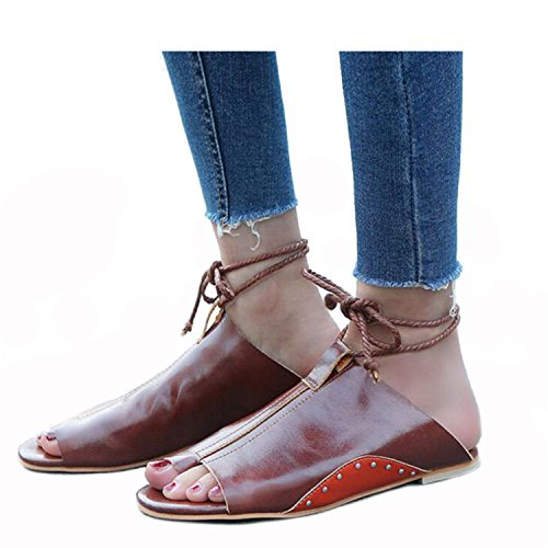 Flip Casual WSS796 Rivets up Flops Black Sandals Shoes VPU Lace vovmi tTqF0z