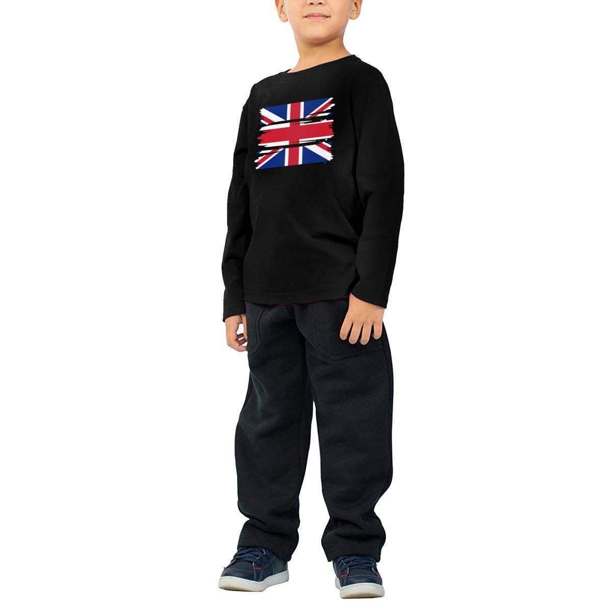 CERTONGCXTS Little Boys British Flag ComfortSoft Long Sleeve Shirt
