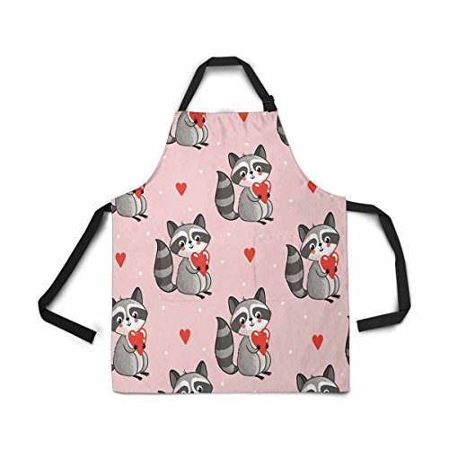 InterestPrint Adjustable Bib Apron for Women Men Girls Chef with Pockets, Cute Raccoon Holding Heart Pink Novelty Kitchen Apron for Cooking Baking Gardening Pet Grooming Cleaning