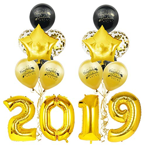 (2019 Congrats Graduate Decorations Set Confetti Latex Star Letter Printing Balloons Party Favors Graduation Party Supplies (Black and Golden))