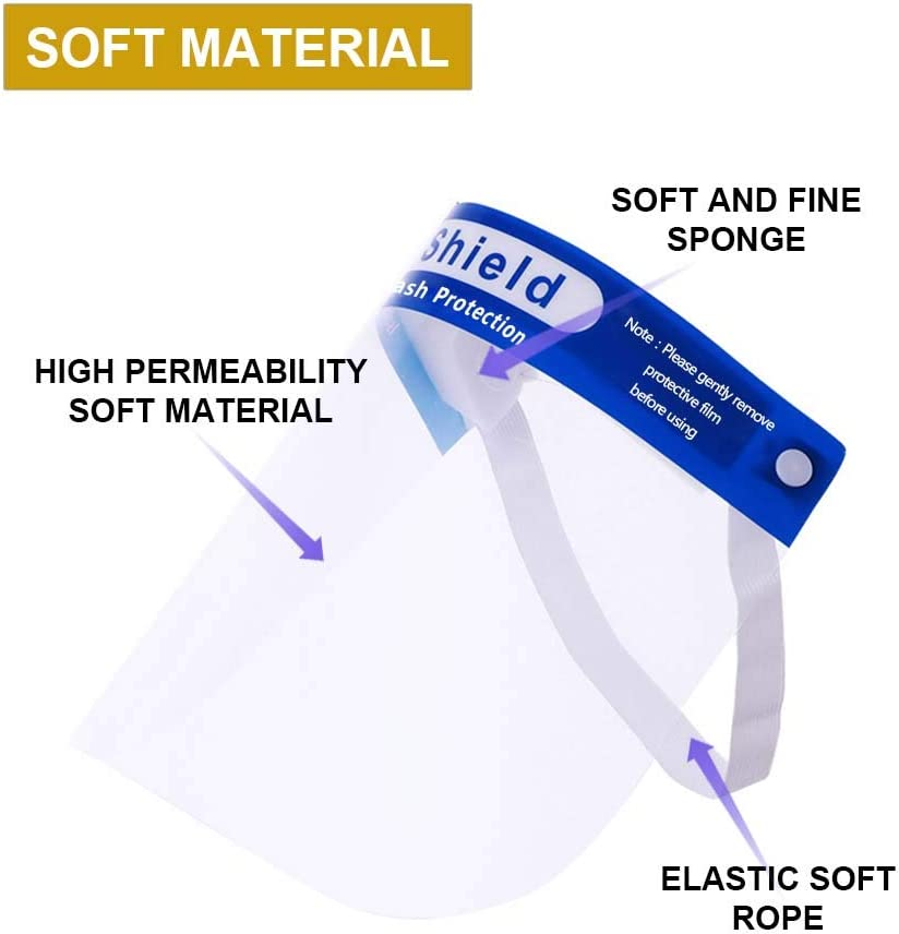 100 Pcs Face Shield Protect Eyes and Face Anti-Fog Plastic Face Shields Hat with Protective Clear Film Elastic Band Fluid Resistant Visor Protection from Splash and Splatter