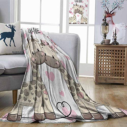 Zmstroy Throw Blanket Kids Cute Giraffes Baby in Pure Love with Butterflies and Hearts Bows Art Print Pink White and Grey Ultra Soft and Warm Hypoallergenic W60 xL80 (Denver Broncos Watch Heart)