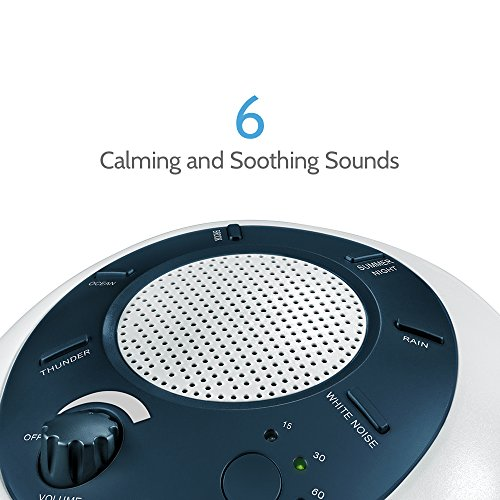 HoMedics Noise Machine Portable Sleep Therapy Baby & 6 Relaxing Nature Battery Adapter Auto-Off Timer | Sound Blue