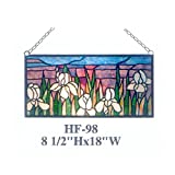 HF-98 Tiffany Style Stained Glass Tulips Landscape Rectangular Window Hanging Glass Panel Sun Catcher, 8.5''Hx18''W
