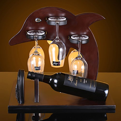Wine glass holder,European dolphin wooden wine cup rack stemware glass storage organizer freestanding wine cup display stand-A L16W12H15inch(403138cm) by bestwineholder