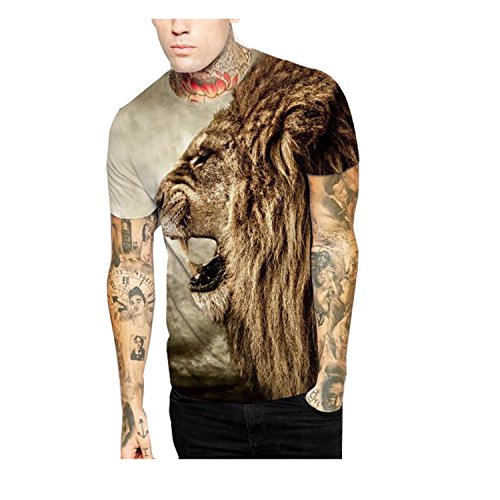 Elakaka Personality Lion Head Digital Printing Round Neck Shorts T - shirt(Size,M)