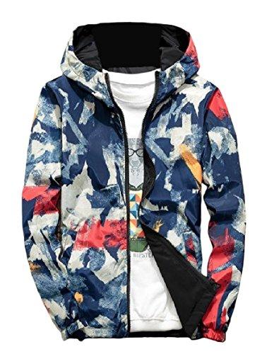 Jackets Baseball Camouflage Howme Two Men's Windbreaker sided Orange Hooded Zipper U18gw6