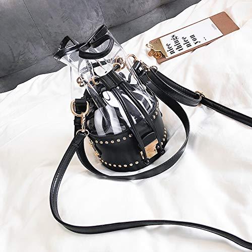 Bag à Messenger Femme Petit Sac Noir personnalité Transparent marée Sauvage bandoulière Sac Mode WSLMHH Seau 7wAOqO