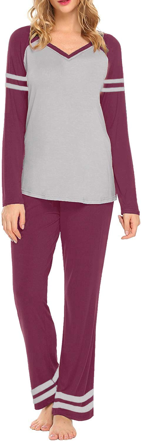 AOVXO Soft Pajama Set for Women Casual V-Neck Long Sleeve Loose Loungewear Set Long Sleeve Tops & Long Sleep Pants with Pockets Loungewear (Wine Red with Grey, XL)
