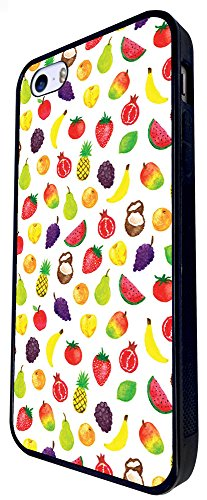 1531 - Cool Fun Trendy Cute Kawaii Mixed Fruit Tropical Apple Coconut Pineapple Grapes Banana Watermelon Design iphone SE - 2016 Coque Fashion Trend Case Coque Protection Cover plastique et métal - No