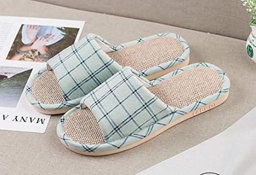 Sandales Silencieuse Lin d'été Femmes Chaussures de Hommes de Vert Femmes Sueur Pantoufles Chaussons à la Vdual xqwU7pPan