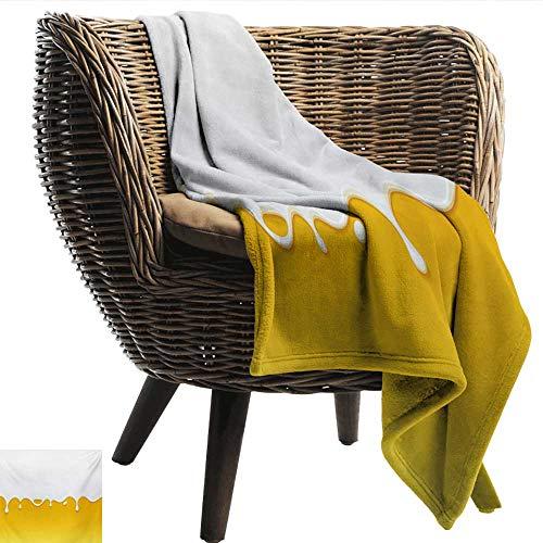 (EwaskyOnline Yellow and White Sofa Cushion Dripping White Milk Cream Paint Yogurt on Yellow Honey Background Print Bedding Throw, or Blanket Sheet 84