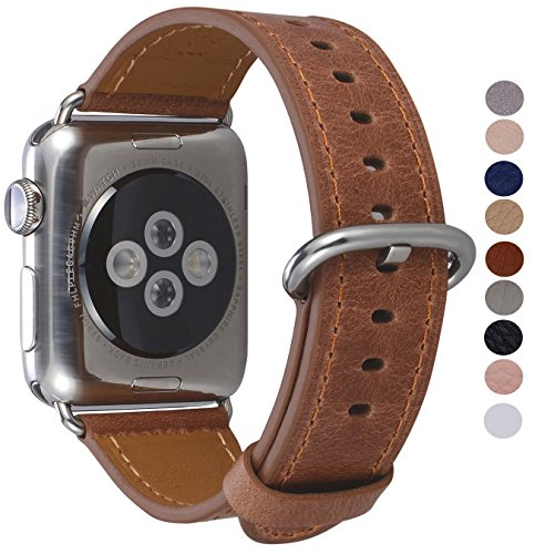 PEAK ZHANG Apple Watch Band 38mm Women Caramel Genuine Leather Replacement Wrist Strap with Stainless Metal Adapter Clasp for Iwatch Series 3/2/1/Edition/Sport