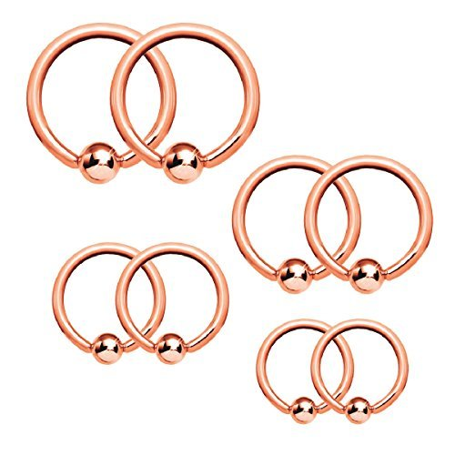 ad Piercing Ring Kit 16G Stainless Steel Nose Tragus Lip Nipple Belly Rings 8PC (16g Captive Ring)