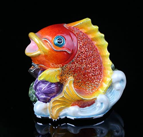 znewlook Metal Fish Collectables Ornaments Trinket Figurines Antique Fish Jewelry Boxes 8.567.5 cm LWH