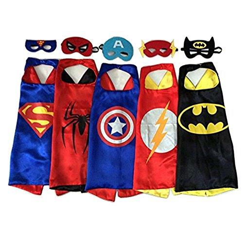 Up Costumes - 5 Satin Capes and 5 Felt Masks Kids Childrens Halloween Costume (Bulldog Mascot Costume)
