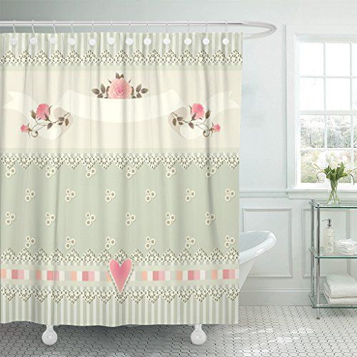 Emvency Shower Curtain Floral Border Shabby Chic Striped Pattern Roses Heart Laces Waterproof Polyester Fabric 72 x 78 Inches Set with - Shabby Curtains Patchwork