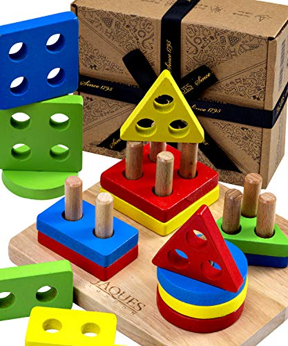 Shape Sorter Board | Wooden Educational Toys | Montessori Toys | Stacking Toy Geometric Shapes Puzzle | Jaques of London