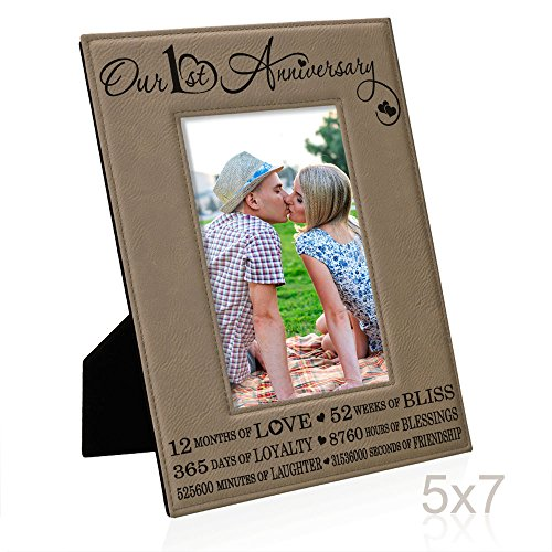 Kate Posh - Our First (1st) Anniversary Engraved Leather Picture Frame - Gifts for Couple, Gifts for Him, Gift for Her, Paper Anniversary Gifts, First Wedding Anniversary Photo Gifts (5x7-Vertical)