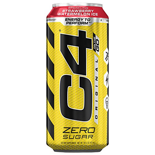 Cellucor C4 Original Carbonated Zero Sugar Energy Drink, Pre Workout Drink + Beta Alanine, Sparkling Strawberry Watermelon Ice, 16 Ounce Cans (Pack of 12)