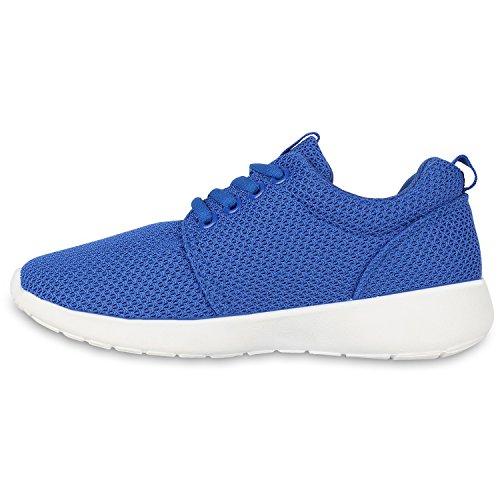 Damen Sportschuhe Übergrößen Trendfarben Runners Sneakers Laufschuhe Fitness Prints Flandell Blau Blue