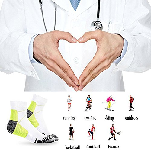 Sport Plantar Fasciitis Arch Support Compression Foot Socks/Foot Sleeves (7 Pairs) - Increases Circulation, Relieve Pain Fast (Black&Blue, L/XL) by Iseasoo (Image #5)