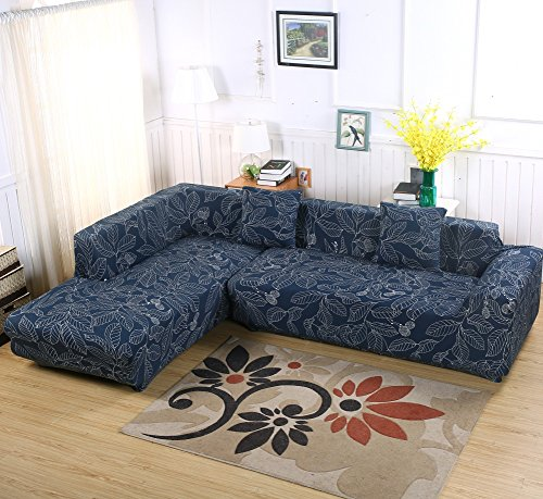 Beacon Pet Universal Sofa Covers for L Shape, 2pcs Polyester Fabric Stretch Slipcovers + 2pcs Pillow Covers for Sectional sofa L-shape Couch (Blue)