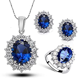 SOURBAN Ocean Blue Sapphire Crystal RhinestonesPendant Necklace With Earing