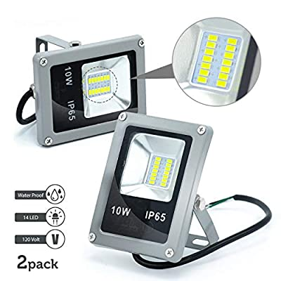 |2-Pack|4.5in Waterproof Daylight White LED Flood Light Lamp Outdoor Landscape