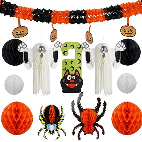 (12Pcs Halloween Party Decorations Set Including Honeycomb 3D Wall Spider Ghost and Trick or Treat Door Ornaments for Halloween)