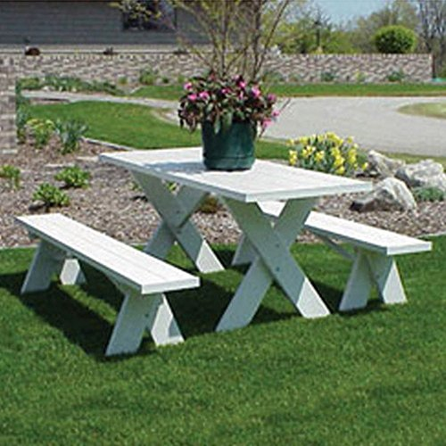 Great Features Of Dura-Trel 6 ft. Traditional White Picnic Table With Benches