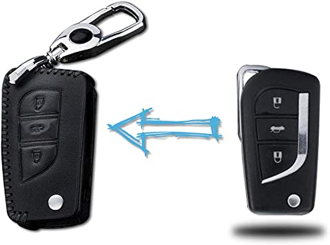 A Pair Black Key Shell Jacket Fob Key Holders Covers Keychain for Toyota