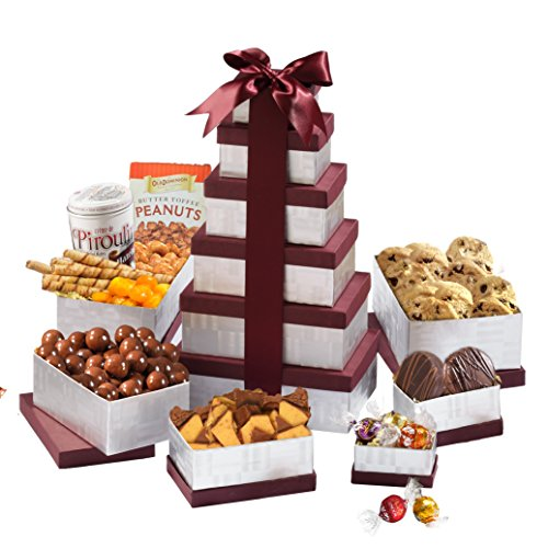 Broadway Basketeers Birthday Celebration Gift Tower With a Gourmet Assortment of Chocolates, Sweets, Nuts & Pastries