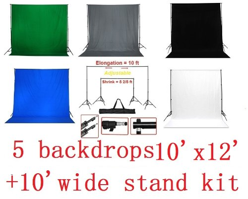 CanadianStudio Photo Studio black white green grey blue backdrops stand support kit high key muslin heavy duty 5 pieces backgrounds 10'x12' - Free shipping-40005 TB-29BWGBG
