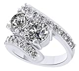 White Cubic Zirconia Two Stone Couple Ring In 14k White Gold Over Sterling Silver (4 Cttw) Ring Size - 12
