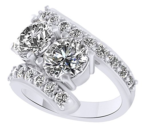 White Cubic Zirconia Two Stone Couple Ring In 14k White Gold Over Sterling Silver (4 Cttw) Ring Size - 12 by AFFY
