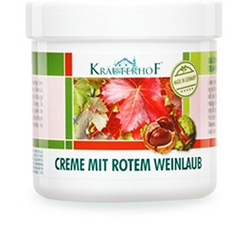 KrauterhoF Foot Cream for Varicose Veins with horse chestnut and red vine leaves 250ml ASAM-GERMANY - Chestnut Leaf