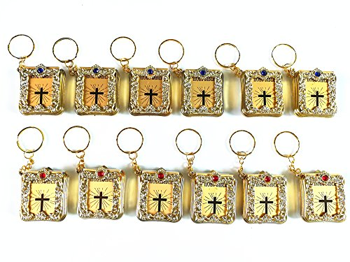 JUMUU Bible Keychain Key Chain Religious Favor - English - Gold (12 Pack) -