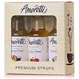 Amoretti Premium Tropical Syrups 50ml 3 Pack (Coconut Cream, Jamaican Rum, Passion Fruit)