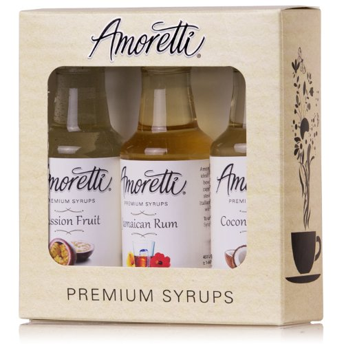 Jamaican Rum Cream - Amoretti Premium Tropical Syrups 50ml 3 Pack (Coconut Cream, Jamaican Rum, Passion Fruit)