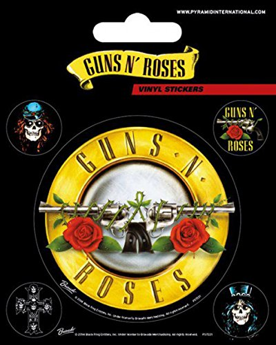 1art1 Guns N' Roses Sticker Adhesive Decal - Bullet Logo, Vinyl Sticker Set (5 x 4 inches) ()