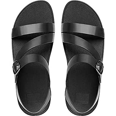 FitFlop Womens The Skinny Z-Strap Leather Sandals All, Black, 10 US