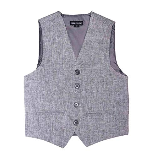 Born to Love - Vest for Baby Toddler Kids Ring Bearer Pageboy Wedding Formal Herringbone Outfit (Light Grey, 8 Years)