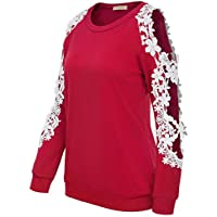 Kate Kasin Women's Floral Lace Crochet Cold Shoulder Blouse Long Sleeve Tops