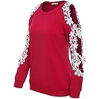 Kate Kasin Women's Floral Lace Crochet Cold Shoulder Blouse Long Sleeve Tops